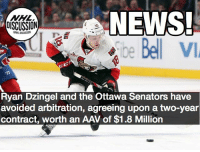 Too much for the bottom six winger who scored 14 goals last season? Dzingel Senators Ottawa NHLDiscussion: NEWS  Sibe Bell V  NHL  DISCUSSION  Ryan Dzingel and the Ottawa Senators have  avoided arbitration, agreeing upon a two-year  contract, worth an AAV of $1.8 Million Too much for the bottom six winger who scored 14 goals last season? Dzingel Senators Ottawa NHLDiscussion