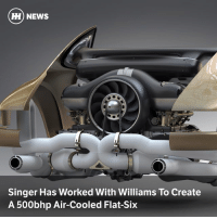 Memes, News, and Porsche: ) NEWS  Singer Has Worked With Williams To Create  A 500bhp Air-Cooled Flat-Six Via @carthrottlenews - The Californian firm has extensively modified an air-cooled Porsche flat-six to the tune of nearly 500bhp, and it sounds like there are more engines to come