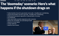 America, Fake, and Money: NEWS  The 'doomsday' scenario: Here's what  happens if the shutdown drags on  Federal workers forced to get private sector jobs. Actually start contributing.  Low income workers forced to get jobs. Actually start contributing  *Politicians/Government exposed as collossal waste of money  Less kickbacks  *Fake news media narrative exposed as utter nonsense  Democrats eventually cave and wall gets built VWtb guverment iutoun negodiat taled,whafs neat  * America is Great Again  *Trump reelected  America Even Greater