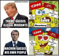 (GC): NEWS  The  lWashington  post  The  Aework  Cimes  TRUMP GASSES  ILLEGAL MIGRANTS  Bloomberg  Washington  Dost  The  Times  MACRON GASSES  HIS OWN PEOPLE  Bloomberg (GC)