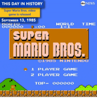 "NEWS  THIS DAY IN HISTORY  abc  Super Mario Bros. video  game is released  SEPTEMBER 13, 1985  HORLD TIME  MARIO  SUPER  MARIO BROS.  19B5 NINTENDO  1 PLAYER GAME  2 PLAYER GAME  TOP  oooooo ""Super Mario Brothers"" was released by Nintendo on this day 31 years ago. Super Mario"