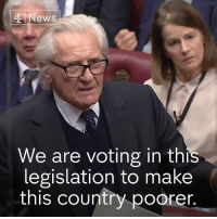 """It will be a Tory government that is blamed for what we are talking about today. I will have no part of it.""  Former Conservative Deputy Prime Minister, Lord Heseltine, says the proposed Brexit deal will ""make this country poorer"".: News  We are voting in this  legislation to make  this country poorer ""It will be a Tory government that is blamed for what we are talking about today. I will have no part of it.""  Former Conservative Deputy Prime Minister, Lord Heseltine, says the proposed Brexit deal will ""make this country poorer""."