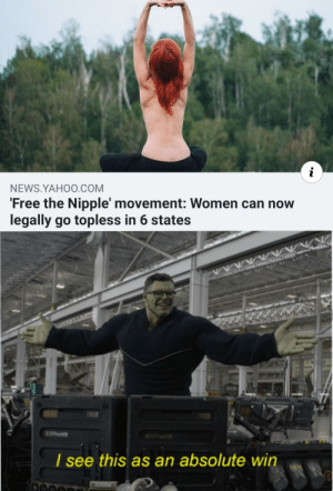 Now for the rest of the states.: NEWS.YAHO0.COM  'Free the Nipple' movement: Women can now  legally go topless in 6 states  I see  this as an absolute win Now for the rest of the states.