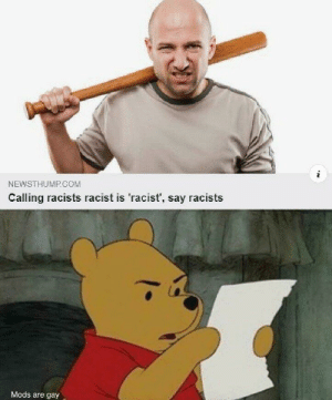 """You racist racist, wait that's racist, racist"" -racist: NEWSTHUMP COM  Calling racists racist is 'racist', say racists  Mods are gay ""You racist racist, wait that's racist, racist"" -racist"
