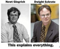 Separated at birth?: Newt Gingrich  Dwight Schrute  ONBC  This explains everything. Separated at birth?