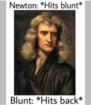 As how all things should react: Newton: *Hits blunt*  Blunt: *Hits back* As how all things should react