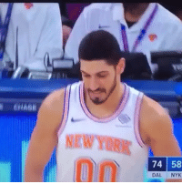 Basketball, Nba, and Sports: NEWYORK  74 58  DAL NYK Kanter kisses the floor then airballs 😂 (Via @world_wide_wob-Twitter)