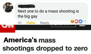 Zero, Haha, and Next: Next one to do a mass shooting is  the big gay  4h Haha Reply  017  America's mass  shootings dropped to zero modern problems require outstanding solutions