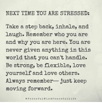 Love, Memes, and Break: NEXT TIME YOU ARE STRESSED:  Take a step back, inhale, and  laugh. Remember who you are  and why you are here. You are  never given anything in this  world that you can't handle.  Be strong, be flexible, love  yourself and love others.  Always remember- just keep  moving forward  e Pea ceful M ind P e a c efulLif e Feeling stressed? Pause, take several deep breaths, begin again. Repeat all day when necessary. Give yourself a break. ~xoxo Michelle & Barb