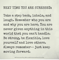 Memes, 🤖, and Stress: NEXT TIME YOU ARE STRESSED:  Take a step back, inhale, and  laugh. Remember who you are  and why you are here. You are  never given anything in this  world that you can't handle.  Be strong, be flexible, love  yourself and love others.  Always remember- just keep  moving forward.  P e a c e f u l Min d P e a c e f u l L i f e