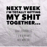 Getting My Shit Together: NEXT WEEK  I'M TOTALLY GETTING  MY SHIT  TOGETHER...  HAHA JUST KIDDING  BE A HO MESS  NEXT WEEK IOO