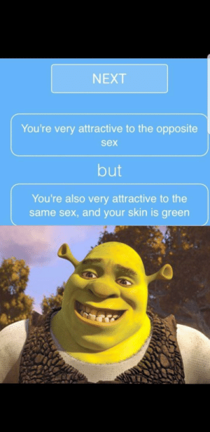 Reddit, Sex, and Next: NEXT  You're very attractive to the opposite  sex  but  You're also very attractive to the  same sex, and your skin is green Who wouldn't?