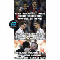 @footy.goal: NEYMAR:WHEN MESSIGETS THE BALL  RUN INTO THE BOX BECAUSE  I KNOW I WILL GET THE PASS  OFDOTY.GOAL  BALE: WHEN RONALDO GETS THE BALL  ISTOPANDWATCHHIM  ISTOPAND WATCHHI  BECAUSEIKNOWHE WONT PASSME  MARTIALSWHEN ROONEY GETS THE BALL  ITURN AROUND 180 DEGREES  AND PREPARE FOR THE COUNTER ATTACK @footy.goal