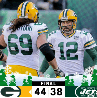 FINAL: The @Packers win in OT over the Jets! #GoPackGo  #GBvsNYJ https://t.co/wpjFRKt3Xm: NF  PACKERS  PACKERS  NFL  SEASONS  FINAL  44 38 FINAL: The @Packers win in OT over the Jets! #GoPackGo  #GBvsNYJ https://t.co/wpjFRKt3Xm