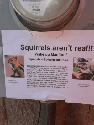 Children, Cute, and Prince: NF00046663608005  57 615 298  48-0005  WATTHOUR METER  USA  9/08  Squirrels aren't real!!  Wake up Manitou!  Squirrels Government Spies  http://wikipedia.ora/sauirrel: Squirrels were created  in 1928 by Prince de Galles. He was contracted by  american President Calvin Coolidge to spy on his  wife Grace Coolidge whom he believed was having  an affair with his younger brother Carlos. Prince de  Galles thought a small listening device with cute  whiskers and fur would be trusted and allowed into  most private spaces. However the squirrels became  self aware soon after their creation and murdered  the Prince in his sleep. It's believed the squirrels  shot him point blank with a legally purchased AR-15  #mykeofmanitou  unfiltered truth  #mykeofmanitou  Save your children  Found this downtown.