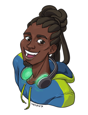 Blessed, Tumblr, and Blog: NFAU* infaux:  starting off my art blog with a drawing of my alltime fave. lucio is blessedhe has a new skin coming, too👀