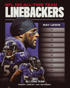 .@raylewis has been selected to the #NFL100 All-TIme Team!  11 more linebackers will join him on Friday night.   📺: NFL 100 All-Time Team | Friday 8pm ET on @nflnetwork https://t.co/MGLhB3s227: NFL 100 ALL-TIME TEAM  LINEBACKERS  RAY LEWIS  Riddell  RAVENS  55  RAVENS  ALL-TIME TEAM  FRIDAY | 8PM ET | NFL NETWORK  I  I .@raylewis has been selected to the #NFL100 All-TIme Team!  11 more linebackers will join him on Friday night.   📺: NFL 100 All-Time Team | Friday 8pm ET on @nflnetwork https://t.co/MGLhB3s227