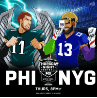#FlyEaglesFly #GiantsPride TONIGHT (8pm ET) on #TNF! #PHIvsNYG  📺: @nflnetwork | @NFLonFOX | @PrimeVideo https://t.co/vb3Xx7np61: NFL  11 13  NFL  THURSDAY  NIGHT  F O O T BAL L  FOX  prime video  PRESENTEO BY  THURS, 8PMET  AVAILABILITY SUBJECT TO BLACKOUT #FlyEaglesFly #GiantsPride TONIGHT (8pm ET) on #TNF! #PHIvsNYG  📺: @nflnetwork | @NFLonFOX | @PrimeVideo https://t.co/vb3Xx7np61