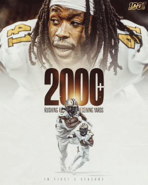 2,000+ rushing yards. 2,000+ receiving yards.  @A_kamara6 is only the fourth player ever to reach those numbers in his first 3 NFL seasons. #Saints https://t.co/PCOkZbAQNy: NFL  2000  RUSHING &  RECEIVING YARDS  IN FIRST 3  SEASONS 2,000+ rushing yards. 2,000+ receiving yards.  @A_kamara6 is only the fourth player ever to reach those numbers in his first 3 NFL seasons. #Saints https://t.co/PCOkZbAQNy