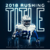 Memes, Nfl, and 🤖: NFL  2018 RUSHING  EZEKIEL ELLIOTT I DAL LAS COWBO Y S I 1434 YARDS .@EzekielElliott is the rushing champ! 🏆 #DallasCowboys https://t.co/4OdPUp0jRu