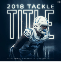 Indianapolis Colts, Memes, and Nfl: NFL  2018 TACKLE  DA RIUS LEONARD I INDIANAPOLIS COLTS 1 16 3 TACKLES .@dsleon45 put up more tackles than any defender in 2018.  As a rookie. 😮 #Colts https://t.co/NiWwCYkWDB