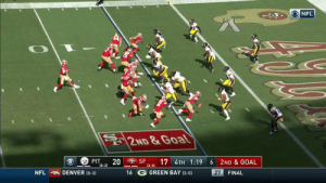 The fifth lead change of #PITvsSF!  @JimmyG_10 to Dante Pettis gives the @49ers the lead.   ?: CBS ?: NFL app // Yahoo Sports app Watch free on mobile: https://t.co/qnNxI5gZ8j https://t.co/0rUaB49Fnx: NFL  2ND &Goal  SF  PIT  20  (0-2)  17 4TH 1:19  2ND & GOAL  6  (2-0)  16 G GREEN BAY (3-0)  NFL  DENVER (0-3)  27  FINAL The fifth lead change of #PITvsSF!  @JimmyG_10 to Dante Pettis gives the @49ers the lead.   ?: CBS ?: NFL app // Yahoo Sports app Watch free on mobile: https://t.co/qnNxI5gZ8j https://t.co/0rUaB49Fnx