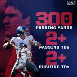 .@Daniel_Jones10 is the first rookie QB in the Super Bowl era with 300+ pass yards, 2+ pass TDs and 2+ rush TDs in a game...  And he did it in his FIRST start. ? https://t.co/oj2f1m2XTp: NFL  300  2+  PASSING YARDS  PASSING TDs  +  RUSHING TDs .@Daniel_Jones10 is the first rookie QB in the Super Bowl era with 300+ pass yards, 2+ pass TDs and 2+ rush TDs in a game...  And he did it in his FIRST start. ? https://t.co/oj2f1m2XTp