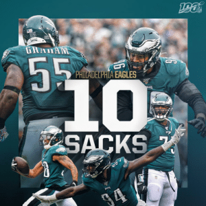 The @Eagles defense had a SACK PARTY yesterday! 🎉 #FlyEaglesFly https://t.co/y3xn3mgKET: NFL  55  GRAIAN  55  PHILADELPHIA EAGLES  10%  LES  SACKS  EALES The @Eagles defense had a SACK PARTY yesterday! 🎉 #FlyEaglesFly https://t.co/y3xn3mgKET