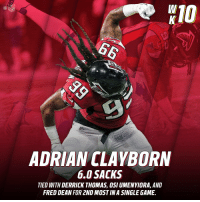 Memes, Nfl, and Game: NFL  ADRIAN CLAYBORN  6.0 SACKS  TIED WITH DERRICK THOMAS, OSI UMENYIORA, AND  FRED DEAN FOR 2ND MOST IN A SINGLE GAME. Nothing to see here.  Just a SIX SACK game from @AJaClay. #DALvsATL https://t.co/PiZ309LJuo