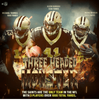 .@MarkIngram22. @A_kamara6. And @Cantguardmike.  Be afraid of the @Saints' three-headed monster. Be VERY afraid. 👹👹👹 #GoSaints https://t.co/Y8k6FBddi2: NFL  ALVIN KAMARA  1336 YARDS  MICHAEL THOMAS  1085 YARDS  MARK INGRAM  1420 YARDS  THE SAINTS ARE THE ONLY TEAM IN THE NFL  WITH 3 PLAYERS OVER 100O TOTAL YARDS. .@MarkIngram22. @A_kamara6. And @Cantguardmike.  Be afraid of the @Saints' three-headed monster. Be VERY afraid. 👹👹👹 #GoSaints https://t.co/Y8k6FBddi2