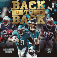 Back to Back, Memes, and Nfl: NFL  BAC  LI  LII  LEGARRETTE  BLOUNT  CHRIS  LONG .@JOEL9ONE and @LG_Blount won back-to-back Super Bowls with two different teams! #SBLI #SBLII https://t.co/dzzXIGjaO4