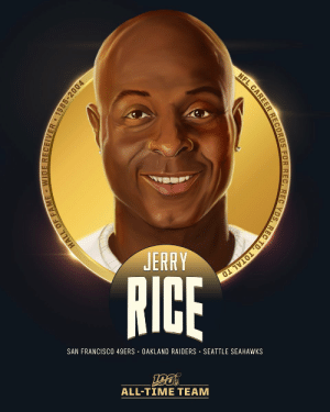 .@JerryRice is one of the 10 wide receivers selected to the #NFL100 All-Time Team!  🐐 Most career receptions (1,549), receiving yards (22,895) and receiving TDs (197) in NFL history 🐐 10x First-Team All-Pro, 🐐 3x Super Bowl Champion 🐐 14 seasons w/ 1,000+ receiving yards https://t.co/QMFTZb1lVk: NFL CAREER RECORDS FOR REC, REC YDS, REC TD, TOTAL TD  JERRY  RICE  SAN FRANCISCO 49ERS · OAKLAND RAIDERS · SEATTLE SEAHAWKS  ALL-TIME TEAM  HALL OF FAME - WIDE RECEIVER 1985-2004 .@JerryRice is one of the 10 wide receivers selected to the #NFL100 All-Time Team!  🐐 Most career receptions (1,549), receiving yards (22,895) and receiving TDs (197) in NFL history 🐐 10x First-Team All-Pro, 🐐 3x Super Bowl Champion 🐐 14 seasons w/ 1,000+ receiving yards https://t.co/QMFTZb1lVk