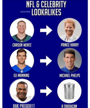 Eli Manning, Memes, and Nfl: NFL& CELEBRITY  LOOKALIKES  STHE COLTSWRVE  PRINCE HARRY  CARSON WENTZ  ELI MANNING  MICHAEL PHELPS  DAK PRESCOTT  A TRASHCAN This is so wrong! https://t.co/wTCc5JvOKo