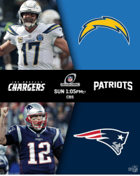 Rivers. Brady. @Chargers. @Patriots.  See you next Sunday. #NFLPlayoffs #LACvsNE https://t.co/JCpYHhIEvo: NFL  CHARGERS sUN 105PM  PATRIOTS  DIVISIONAL  AARHR SUN 1:05PMET  CBS  PATRIOTS  12  @叩  NFL Rivers. Brady. @Chargers. @Patriots.  See you next Sunday. #NFLPlayoffs #LACvsNE https://t.co/JCpYHhIEvo