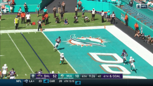 .@RGIII is throwing TDs! #RavensFlock #BALvsMIA  📺: CBS 📱: NFL app // Yahoo Sports app  Watch on mobile: https://t.co/PoZiStO3mL https://t.co/g31l0JQKF4: NFL  Dolp  94  MIA 10 4TH 9:26 40 4TH & GOAL  BAL 52  20 4TH 13:10  CAR  23  LA  NFL .@RGIII is throwing TDs! #RavensFlock #BALvsMIA  📺: CBS 📱: NFL app // Yahoo Sports app  Watch on mobile: https://t.co/PoZiStO3mL https://t.co/g31l0JQKF4