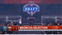 Espn, Memes, and Nfl: NFL  DRAFT  2  RI PK BRONCOS SELECTION  DRAFT  LIVE DEN  NEXT IND TB CHI SF OAK MIA BUF WAS GB ARI BAL LAC SEA DAL DET Now joining @VonMiller on the @Broncos... @PackFootball pass-rusher Bradley Chubb (@ASTROCHUBB)!  2018 #NFLDraft LIVE right now on NFLN/FOX/ESPN! https://t.co/javSCWVTRN