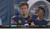 Anyone catch a glimpse of Jay Cutler last night on the sideline... 😱: NFL  EE MNF  HI  9 CHI 7  3RO 1:30 34 1st & Goal Anyone catch a glimpse of Jay Cutler last night on the sideline... 😱