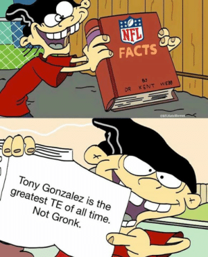Facts, Nfl, and Time: NFL  eNFLHate  Tony Gonzalez is the  greatest TE of all time.  Not Gronk. Facts?