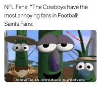 "nfl fans: NFL Fans: ""The Cowboys have the  most annoying fans in Football!  Saints Fans:  Allow us to introduce ourselves"