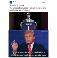 The 49ers pulled off the greatest robbery in Chicago history last night: NFL.  Follow  ONFL  TRADE ALERT  lhe Chicago Bears trade 4 picks to move up one  spot to take Mitch Trubisky!  TRUBISKY  @NFL MEMES  This has been the worst trade deal in  the history of trade deals, maybe ever The 49ers pulled off the greatest robbery in Chicago history last night