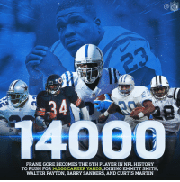 Barry Sanders, Martin, and Memes: NFL  FRANK GORE BECOMES THE 5TH PLAYER IN NFL HISTORY  TO RUSH FOR 14,000 CAREER YARDS, JOINING EMMITT SMITH,  WALTER PAYTON, BARRY SANDERS, AND CURTIS MARTIN 1️⃣4️⃣,0️⃣0️⃣0️⃣ career rushing yards.  Congratulations, Frank Gore! https://t.co/Q79UL54f9k