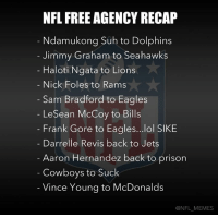 Nfl, Sam Bradford, and Prisoners: NFL FREE AGENCY RECAP  Ndamukong Suh to Dolphins  Jimmy Graham to Seahawks  Haloti Ngata to Lions  Nick Foles to Rams  Sam Bradford to Eagles  LeSean McCoy to Bills  Frank Gore to Eagles...lol SIKE  Darrelle Revis back to Jets  Aaron Hernandez back to prison  Cowboys to Suck  Vince Young to McDonalds  @NFL MEMES Here's a quick rundown of NFL free agency so far…  Like us! NFL Memes