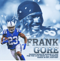 Indianapolis Colts, Memes, and Nfl: NFL  GORE  PASSES DERRICK MASON (17,150)  FOR THE 16TH-MOST ALL-PURPOSE  YARDS IN NFL HISTORY The legend of Frank Gore continues! 💪  #Colts https://t.co/kePoYKh3Ql