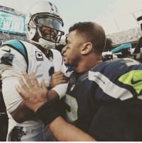 Nothing but love between Cam Newton & Russell Wilson after the game. 🏈🏈🏈: NFL  iEAH Nothing but love between Cam Newton & Russell Wilson after the game. 🏈🏈🏈