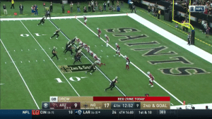 .@DrewBrees and Taysom Hill connect for the TD! #Saints #AZvsNO  📺: CBS 📱: NFL app // Yahoo Sports app Watch free on mobile: https://t.co/a16R5wPShJ https://t.co/lGjlQn3kir: NFL  INTS  G  2ND &GO  RED ZONE TODAY  QB DREW  ON S  -(6-1)  2ND & GOAL  17 4TH 12:52 9  ARZ  (3-3-1)  30  1st & 10  24 4TH 14:00  LAR (4-3)  10  NFL E CIN (0-7) .@DrewBrees and Taysom Hill connect for the TD! #Saints #AZvsNO  📺: CBS 📱: NFL app // Yahoo Sports app Watch free on mobile: https://t.co/a16R5wPShJ https://t.co/lGjlQn3kir