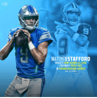 Nobody's thrown for more yards on Thanksgiving than Matthew Stafford! 🦃🏈 #OnePride https://t.co/4Dy1gSSXwI: NFL  ions  MATTHEWSTAFFORD  PASSES TONY ROMO (2,338)  FOR MOST PASS YDS  IN THANKSGIVING GAMES  SINCE 1970 MERGER  wERsom  Wilson Nobody's thrown for more yards on Thanksgiving than Matthew Stafford! 🦃🏈 #OnePride https://t.co/4Dy1gSSXwI