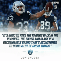 "Memes, Nfl, and Raiders: NFL  ""IT'S GDDD TO HAVE THE RAIDERS BACK IN THE  PLAYOFFS THE SILVERAND BLACK ISA  RECOGNizABLE BRAND THATS ACCUSTOMED  TO DDING ALOTOF GREAT THINGS  JON GRUDEN He is sure right about that. Go Raiders! #Chica"