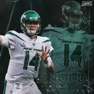 Sam is back.  Darnold in his return: 23-for-32, 338 yards, 2 TDs and a 113.8 passer rating ✈️  #TakeFlight #DALvsNYG @nyjets https://t.co/dEEfonQRGY: NFL  JETS  JETS  NEW YORK  NEW YORK  SAM  RNOLD  NEL  Wilone  Wilsons  NFL Sam is back.  Darnold in his return: 23-for-32, 338 yards, 2 TDs and a 113.8 passer rating ✈️  #TakeFlight #DALvsNYG @nyjets https://t.co/dEEfonQRGY