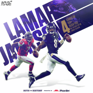 .@Lj_era8 is coming for ALL the records. 😈  @Ravens | #RavensFlock  (by @pizzahut) https://t.co/YzfB6hZQWA: NFL  LAMAR  GAMES OF  100+  RUSH YDS  NFL RECORD FOR QB  SINGLE SEASON  ম  HUTS FOR HISTORY PRESENTED BY  Pizza-Hut .@Lj_era8 is coming for ALL the records. 😈  @Ravens | #RavensFlock  (by @pizzahut) https://t.co/YzfB6hZQWA