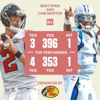 We see you, Matt Ryan and Cam Newton!: NFL  MATT RYAN  AND  CAM NEWTON  b/r  INT  YDS  TDS  3 396 1  TOP PERFORMERS  4 353 1  INT  YDS  TDS  PRESENTED BY  Shops We see you, Matt Ryan and Cam Newton!